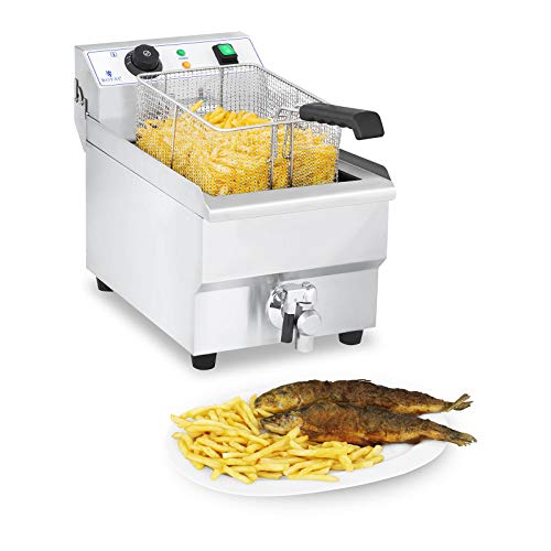 Royal Catering Fritteuse Edelstahl Elektro-Fritteuse RCEF 10EH-1 (10...